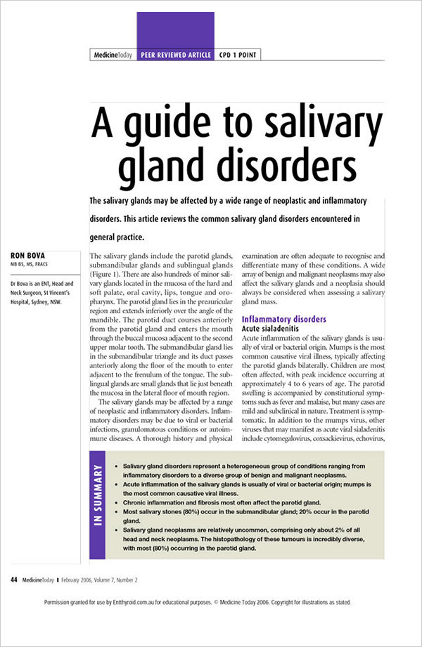 Medicine-Today-Salivary-Gland-Disorders-Ron-Bova